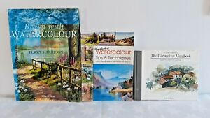 3x Watercolour Painting Books: Brush with..., Tips & Techniques, Handbook Of