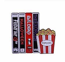 Enamel Pin Badges - Set of 1 - Movie Night VHS Tapes & Popcorn - EB0031
