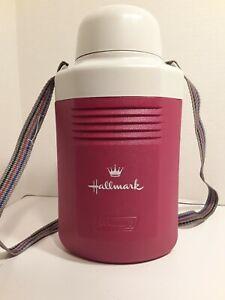 VINTAGE COLEMAN 1/2 GALLON WATER JUG 5517 COOLER*HALLMARK LOGO*RED*WHITE *RARE*