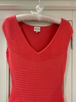 New Reiss Perrie Coral Orange Bodycon Ribbed Dress Size 8 Sold On ASOS