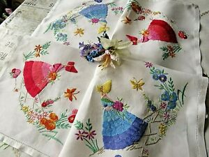 VINTAGE HAND EMBROIDERED LINEN TABLECLOTH/ BEAUTIFUL CRINOLINE LADIES&GARDENS
