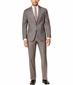 Kenneth Cole Mens Slim Two Button Formal Suit, Grey, 40 Short / 33W x 32L