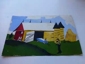Vintage Hand Painted Amish Farm with Hand Painted Folk Art Frame