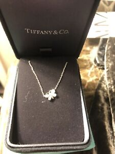 Authentic Tiffany & Co Platinum Enchant Diamonds Butterfly Pendant Necklace 16""