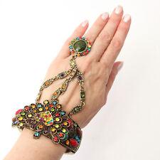 Finger Ring Costume Jewelry Multicolored Rhinestone Slave Bracelet Drop