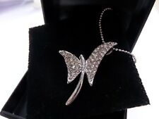 SILVER COLOURED DIAMANTE DECO STYLE BUTTERFLY  PENDANT NECKLACE new boxed