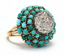 Retro Platinum and 14 Karat Gold Diamond and Turquoise Bombe Ring