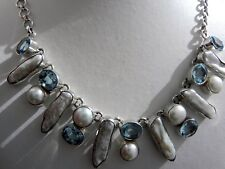 Heavenly 💖 51g sterling silver 925 blue topaz, biwa and cultured pearl necklace