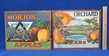Reproduction Fruit Crate Labels Orchard Pears Morjon Apples Plastic Frames Clear