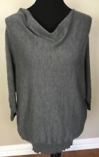 EILEEN FISHER M 100% Wool Roomy Pullover Sweater Cowl Neck Dolman Sleeve Gray