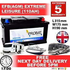12V 110AH EFB ( AGM ) LEISURE BATTERY HEAVY DUTY LOW HEIGHT (100AH AMP) 110 AMP