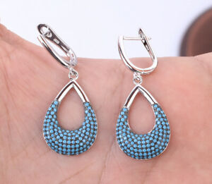 DROPS TURQUOISE .925 SOLID STERLING SILVER EARRINGS #28099