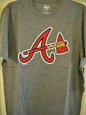 ATLANTA BRAVES ADULT MEDIUM ( M ) SHORT-SLEEVE GRAY T-SHIRT W/ A/TOMAHAWK LOGO *