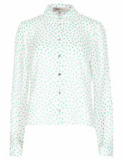Polyester Collared Blouses Spotted Tops & Shirts for Women