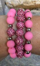 Cuff Set-Valentines Ship Free Rustic Pink Shamballa Silicone Bracelet-3