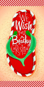"30""x60"" Christmas Flip Flop Candy Sripes Microfiber Beach Towel"