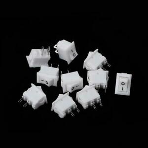 10 Pcs 2 Pin 10x15mm SPST ON/OFF Soldering Terminal Boat Rocker Switch 3A AC