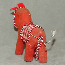 """Christmas Ornament Japan ? Flocked Horse Red White Saddle 3"""" As Is"""