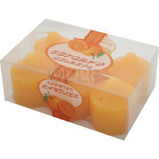 Set of 6 Scented Wax Candles Aroma Fresh Fragrances Pillar Home Candle Gift Orange
