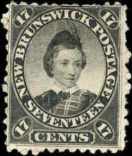 Mint NG Canada New Brunswick 1860 17c F Scott 11 Queen Victoria Stamp