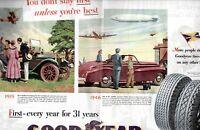 1946 2 PAGE ORIGINAL VINTAGE GOOD YEAR TIRE MAGAZINE AD