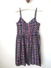 sz XS ROXY Casual Sun Beach Summer Mutli Black Mini Dress