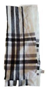 Express Mens Scarf 76 Inches Long 17 Inches Wide White & Black Stripe