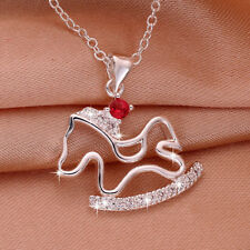 Wholesale 925 Sterling Silver Filled Hollow Horse Red Zircon Crystal Pendant
