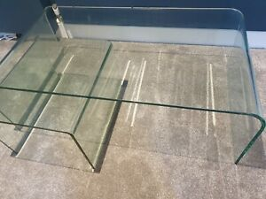 Modern toughened tempered rectangular glass large and small coffee table