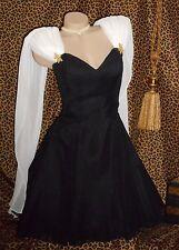 USA 4 Small Lillie Rubin B/W Formal Watteau Dress Chiffon Taffeta Crinoline