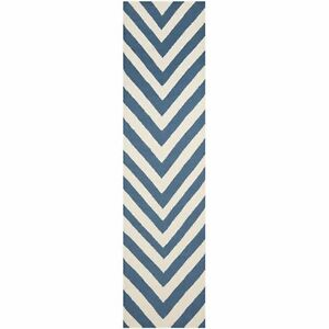 Safavieh Blue/ Ivory Flat weave Wool Runner 2' 6 x 8'