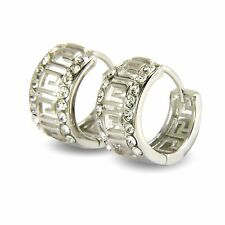 Womens Greek Key Pattern White Gold Filled Hoop Earrings White Diamante BE917