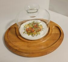 Vintage Goodwood Teak Plate With Glass Dome Cheese and Crackers Tray