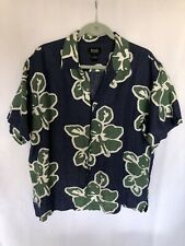 G.H.Bass & Co Mens Tropical Island Hawaiian Linen/ Rayon Shirt L