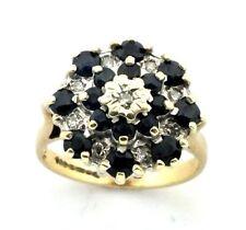 Mujer, 9 ct/9 ct oro anillo con un zafiro+racimo de diamantes, tamaño RU J/K
