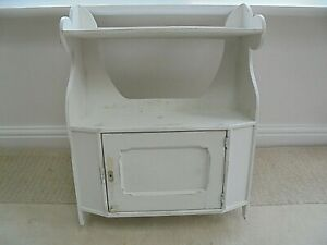 Vintage pine wall display shelves & cabinet, painted, shabby chic, Old White