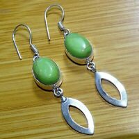 "GREEN COPPER TURQUOISE 925 Sterling SILVER PLATED EARRINGS 2.25 "" Inches SER27"