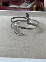 Solid Egyptian Silver Snake Serpent Snake Slave Bangle 39.39 Grams