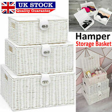 Set of 3 White Hamper Storage Basket Resin Woven Wicker With Lid Xmas Gift Box