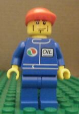 LEGO MINIFIGURE – TOWN CITY – GAS STATION – OIL – BLUE, RED CAP – GENTLY USED