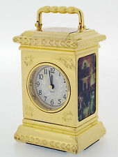 Miniature Novelty Colonial Carriage Clock in Solid Brass