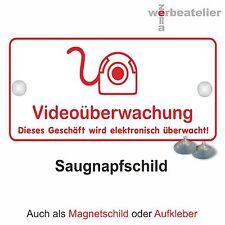Saugnapfschild Videoüberwachung 20x10wetterfest Haftschild Einbruchschutz Schild