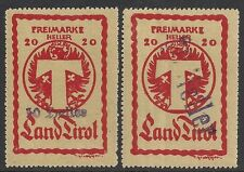 Austria stamps 2 local stamps TIROL  MLH  F/VF