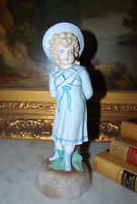Magnificent Parian / Bisque Hand Paint Girl With Bonnet Victorian Style Figurine