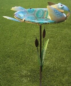 "Bird Feeder Bath Turtle Backstroking metal & glass on pick post NEW 29"" tall"