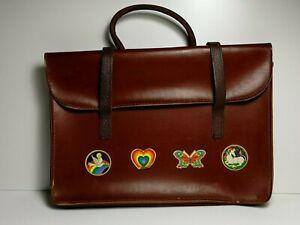 VINTAGE SHEET MUSIC CASE Chestnut Brown Leather Bag Document Laptop Briefcase