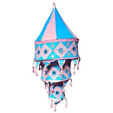 Indischer Lampenschirm hellblau-rosa 75cm Baumwolle Dekolampe Orient Hängelampe