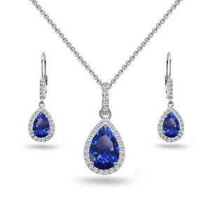 Teardrop Created Blue Sapphire & White Topaz Necklace & Leverback Earrings