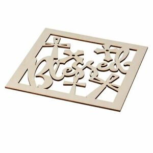 2-Piece Unfinished Wooden Blessed Cutout, Cross Wall Art Decor for DIY Painting