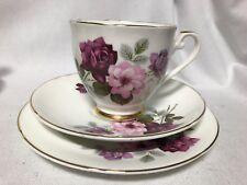 trio of Royal Grafton Rose print  fine bone china tea cup/saucer/tea plate